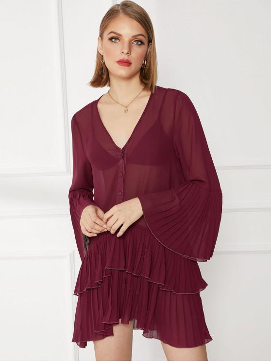ladies Chiffon Pleated Layered Flare Sleeve Sheer Dress - RED WINE L