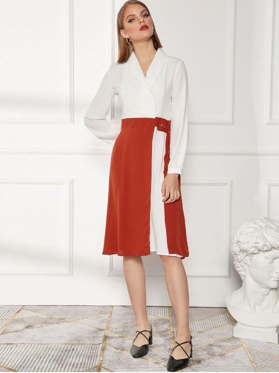 hot Shawl Collar Two Tone Slit Buckle Midi Dress - MULTI-A XL