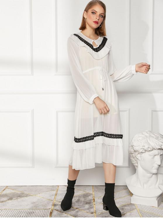 Vestido De Cintura Alta De Manga Larga Con Ribete De Ojo De Cerradura White