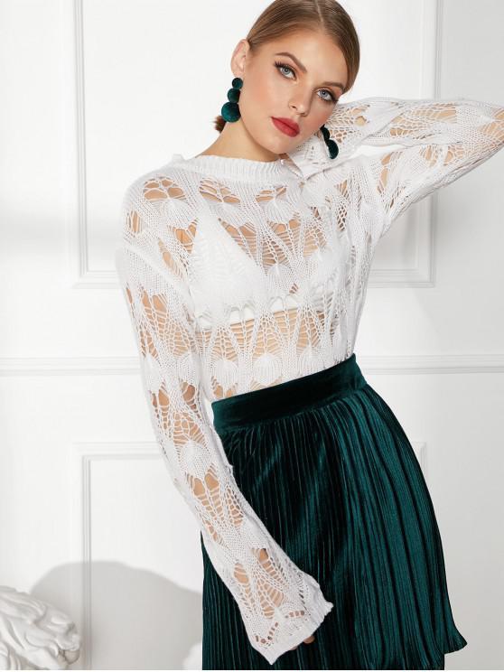 women Open Knit Long Sleeve Crew Neck Sweater - WHITE M