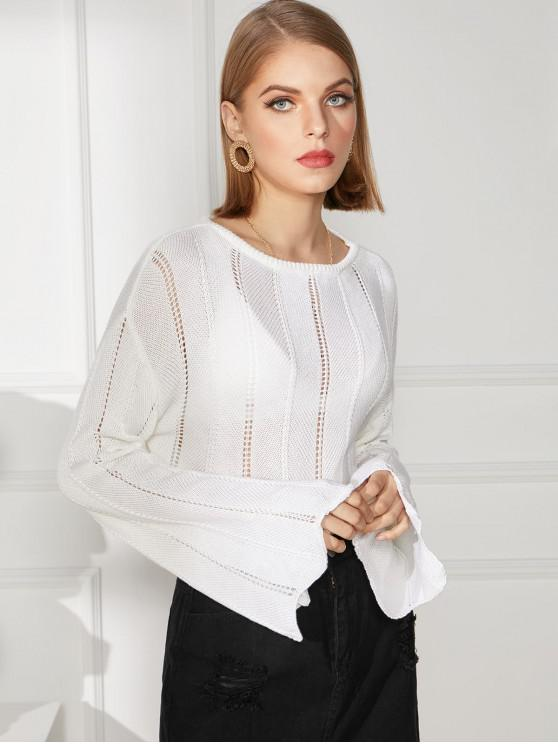 womens Pointelle Knit Scalloped Flare Sleeve Sweater - WHITE XL