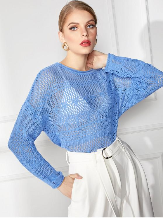 outfits Roll Trim Pointelle Knit Sweater - BLUE L