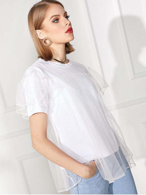women Solid Double Layer Mesh Short Sleeve Tee - WHITE L