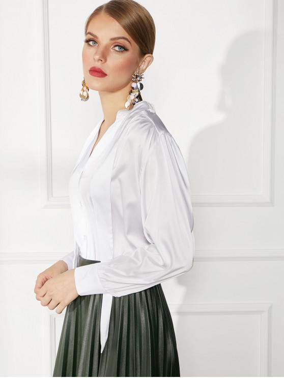 chic Button Front Satin V Neck Work Blouse - WHITE XL