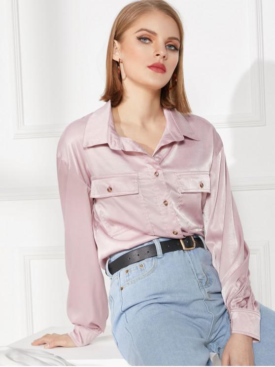 سهل رفرف جيوب زر قميص - زهري XL