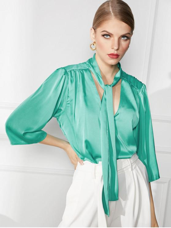 shop V Neck Satin Tied Ruched Blouse - GREEN L