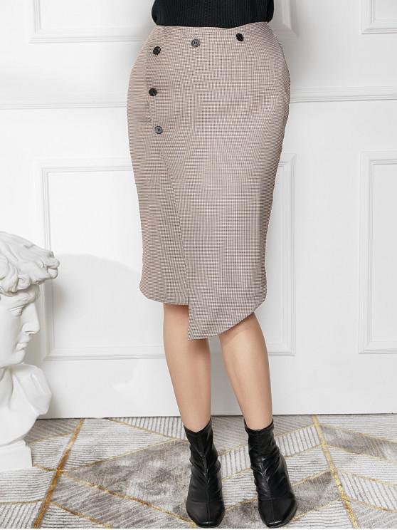 fancy Houndstooth Button Fly Asymmetrical Skirt - LIGHT GRAY XL