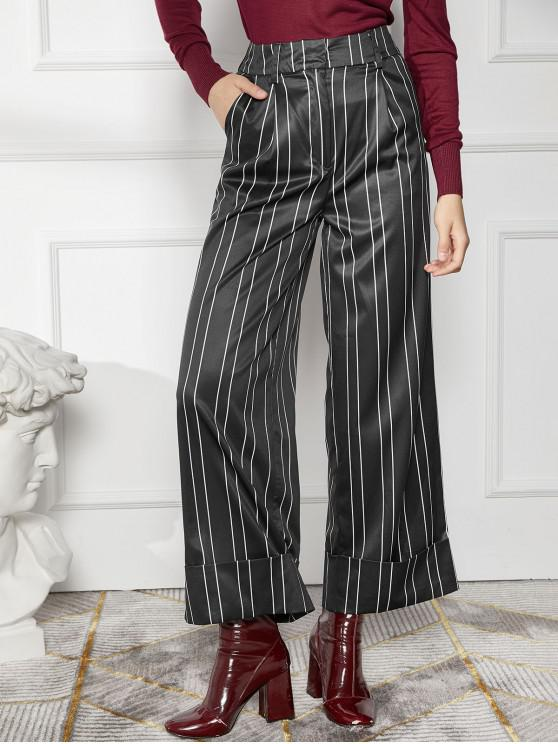 womens Pinstriped Rolled Hem High Waist Palazzo Pants - BLACK M