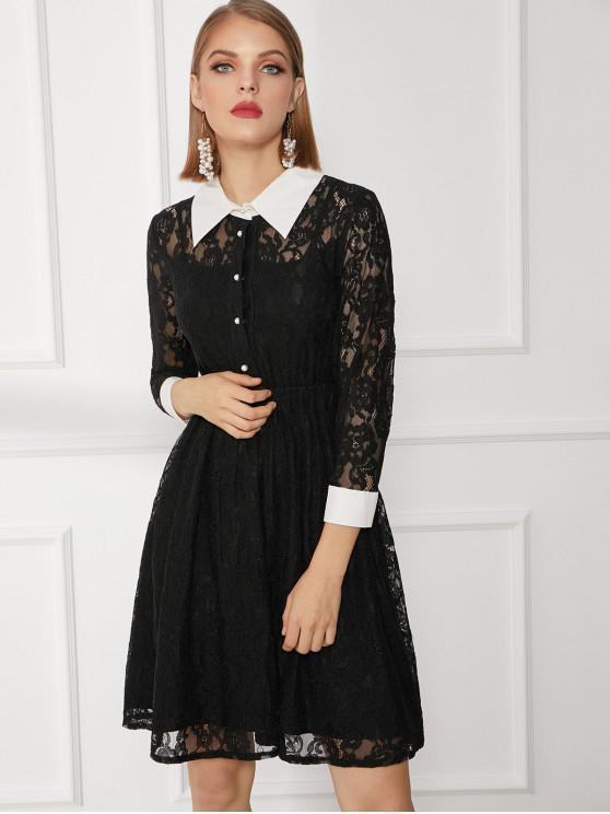 aa0ba0301645 Vestido de encaje de trabajo medio abotonado en contraste BLACK