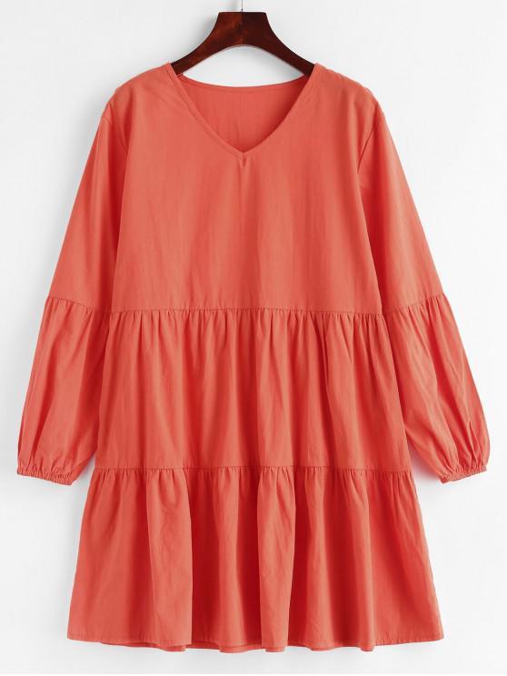 women Long Sleeve V Neck Casual Smock Dress - ORANGE M