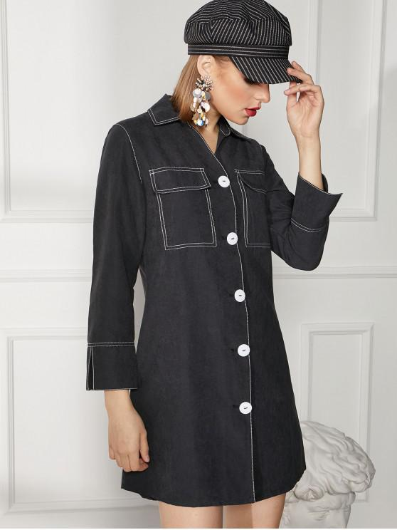 buy Topstitched Button Up Work Shirt Dress - BLACK L
