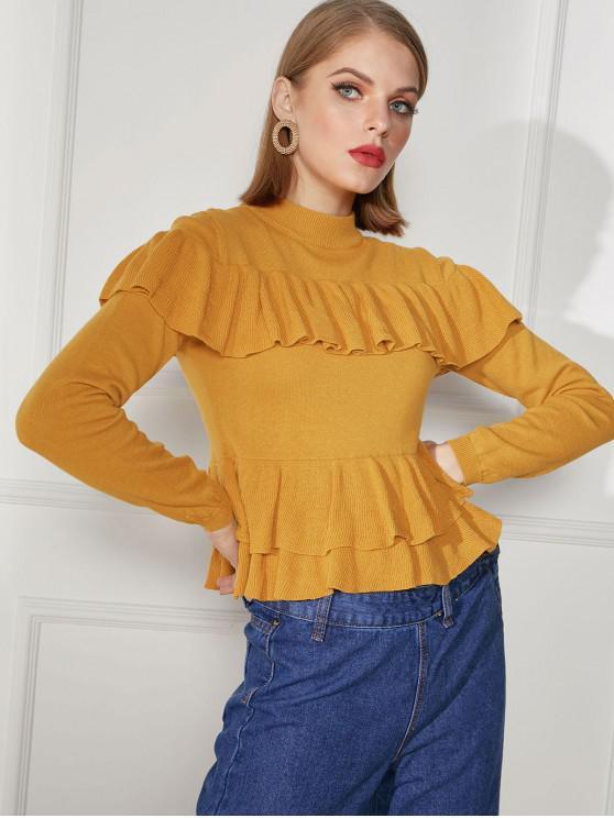 women Flounce Mock Neck Jumper Sweater - GOLDEN BROWN XL