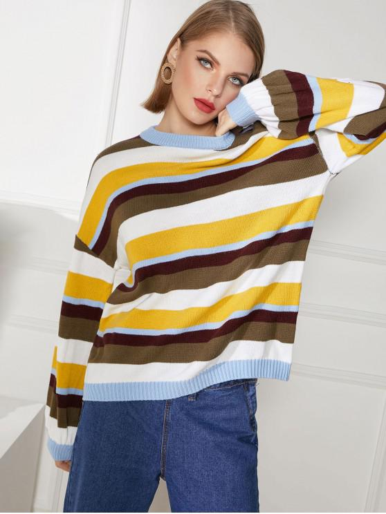 lady Color Block Drop Shoulder Jumper Sweater - MULTI-A XL