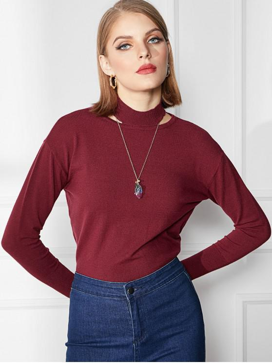 shops Cutout High Neck Sweater - RED WINE M