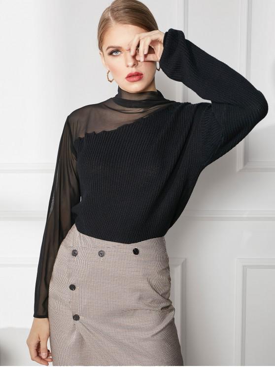 trendy High Neck Mesh Panel See Thru Sweater - BLACK L