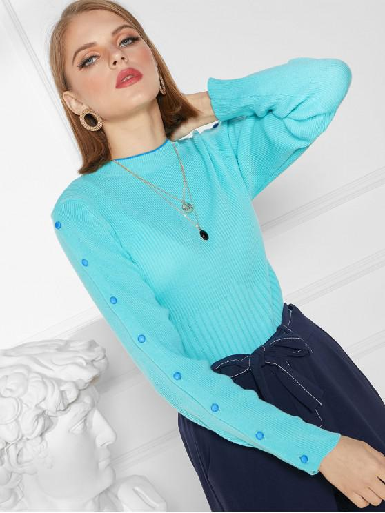 new Buttoned Sleeve Crew Neck Ribbed Slim Sweater - LIGHT BLUE XL