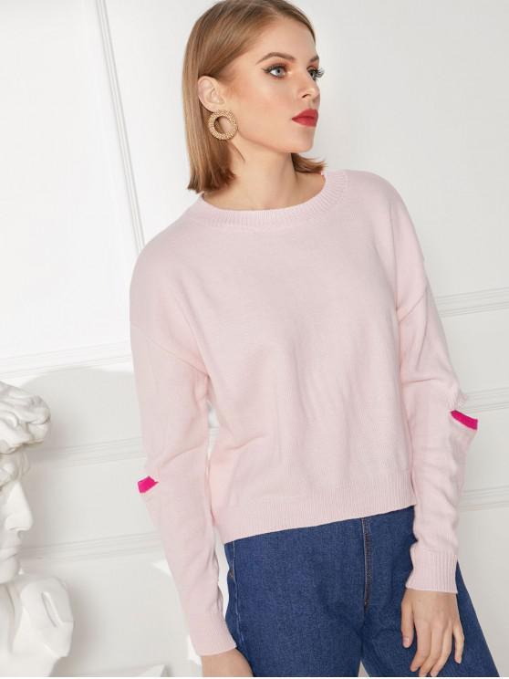 unique Elbow Cut Drop Shoulder Jumper Sweater - PIG PINK M