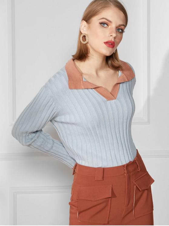 online Turndown Collar Ribbed Slim Knit Sweater - BLUE L