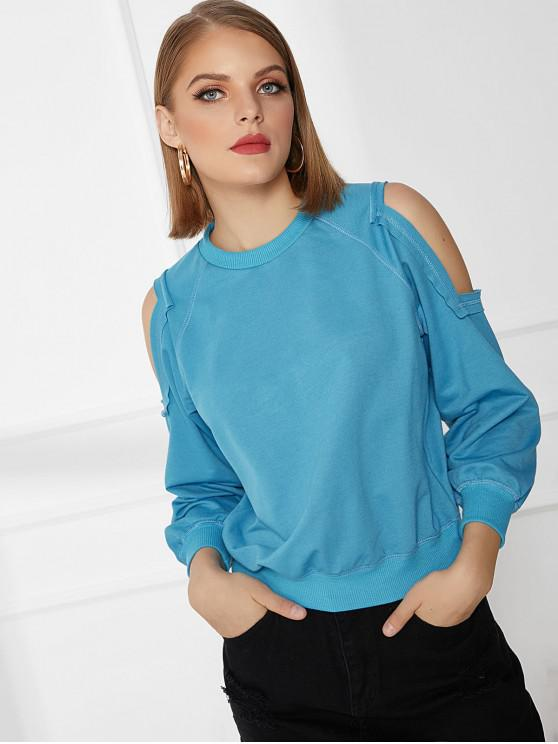latest Basic Cold Shoulder Long Sleeve Sweatshirt - DEEP SKY BLUE 2XL