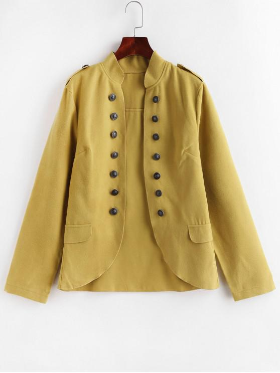 women's Faux Pockets Solid Epaulette Jacket - YELLOW S