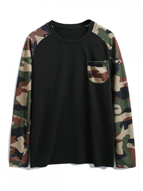 buy Camouflage Splicing Color Block Chest Pocket T Shirt - BLACK 2XL