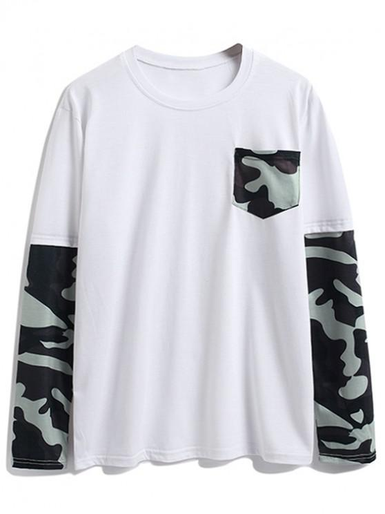 lady Camouflage Splicing Chest Pocket Long Sleeve T Shirt - WHITE S