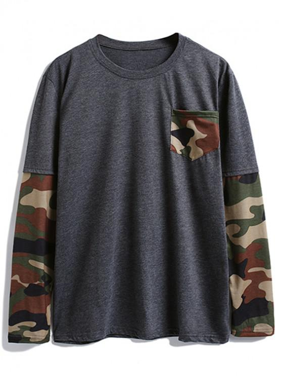 Camuflagem Splicing Chest Pocket Long Sleeve Camiseta - Cinzento Escuro M