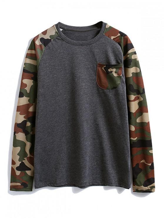 women's Camouflage Splicing Color Block Chest Pocket T Shirt - DARK GRAY 2XL