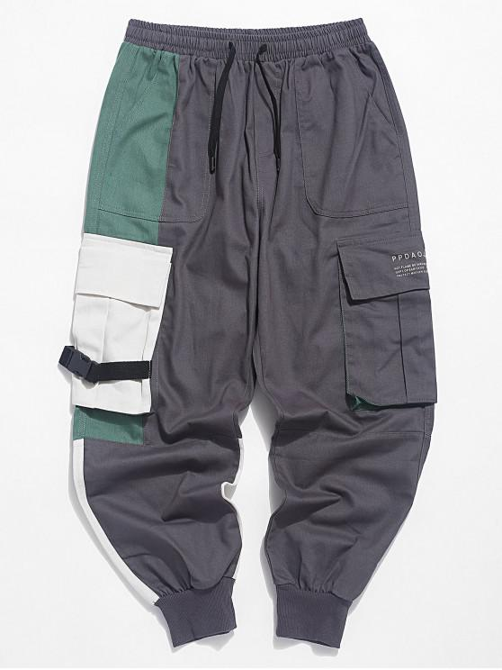 outfits Letter Print Color Block Splicing Cargo Jogger Pants - GREEN XL