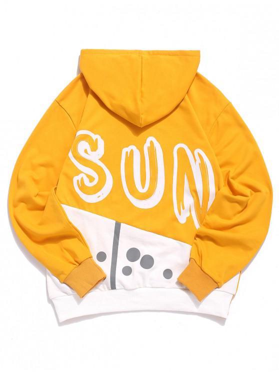 fashion Sun Letter Print Color Block Spliced Kangaroo Pocket Hoodie - YELLOW XL