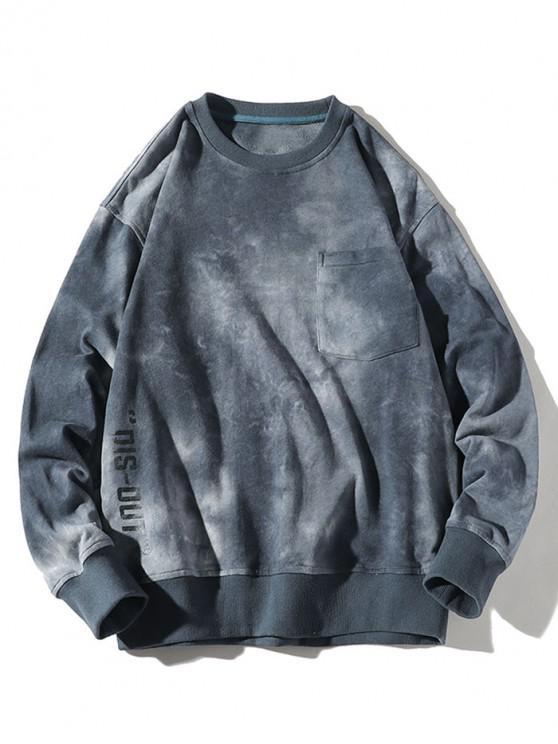 trendy Tie Dye Letter Print Chest Pocket Pullover Sweatshirt - BLUE M