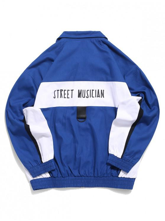 hot Street Musician Letter Print Color Blocking Splicing Jacket - BLUE L