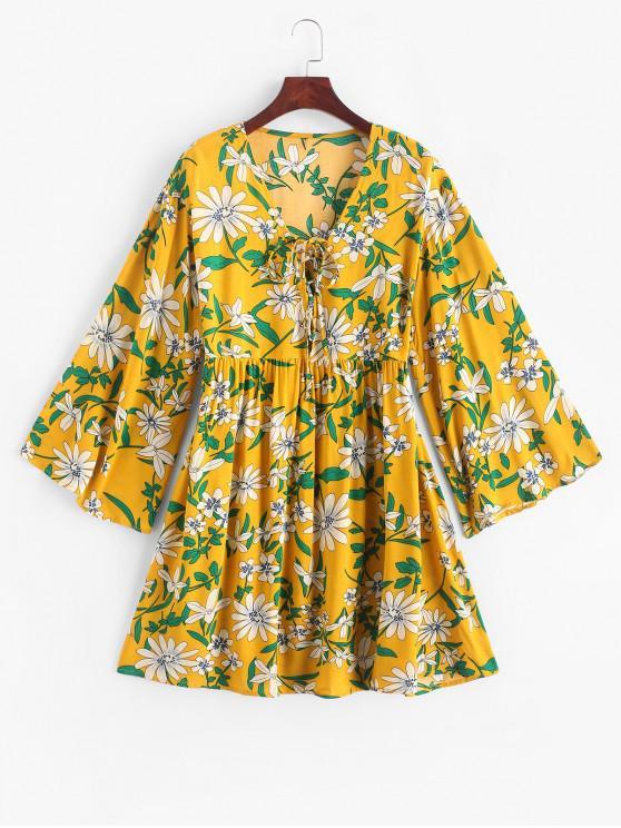 fancy ZAFUL Flower Print Lace Up Long Sleeve Smock Dress - MULTI-A XL