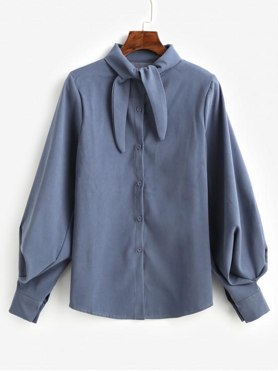 ربطة عنق زر حتى قميص كم بالون - ازرق رمادي M
