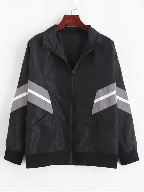 hot ZAFUL Reflective Colorblock Batwing Sleeve Pocket Zip Jacket - BLACK M