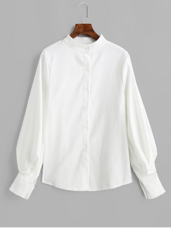 كم بالون موقف طوق القميص عادي - أبيض S
