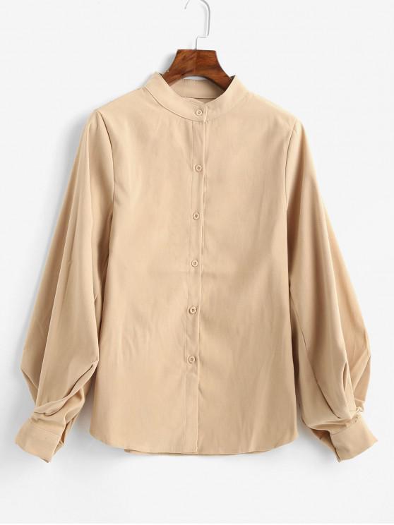 online Balloon Sleeve Stand Collar Plain Shirt - LIGHT KHAKI S