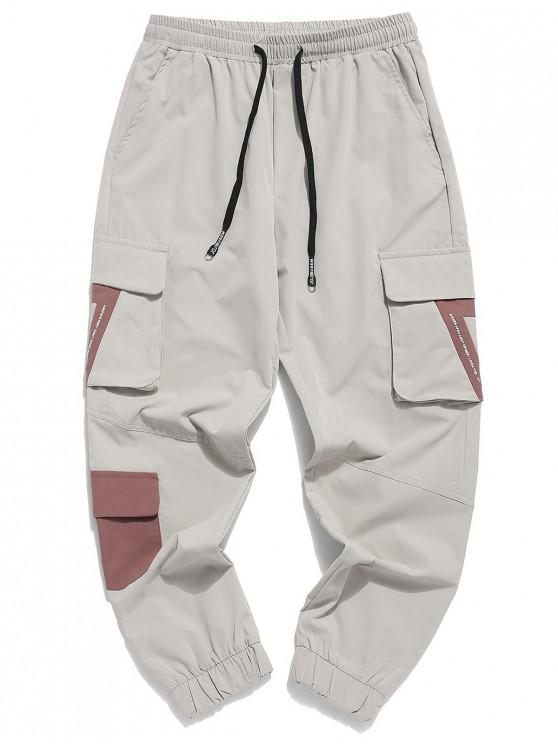 hot Color Block Spliced Letter Print Flap Pocket Jogger Pants - BEIGE M