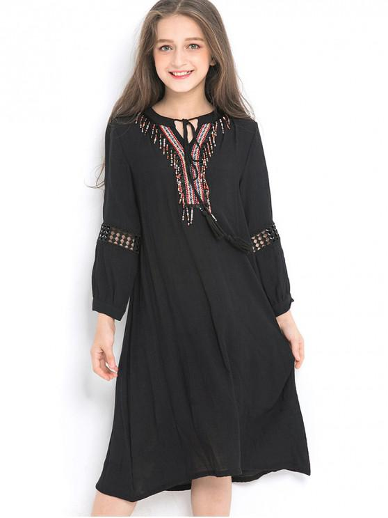 shops Girls Ethnic Tie Collar Long Sleeve Flowing Dress - BLACK 150