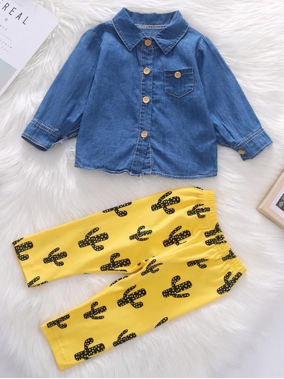 best Denim Shirt and Cactus Printed Elastic Pants Set - SUN YELLOW 110