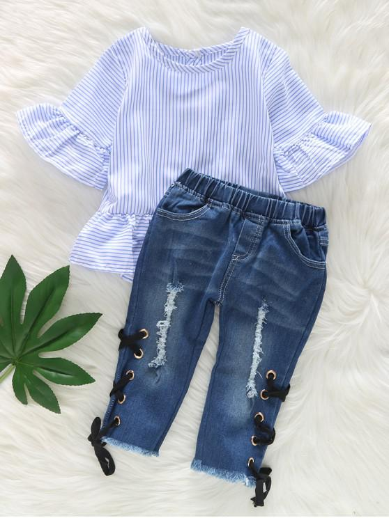buy Ruffle Sleeve Striped Top and Ripped Jeans Set - DENIM BLUE 110