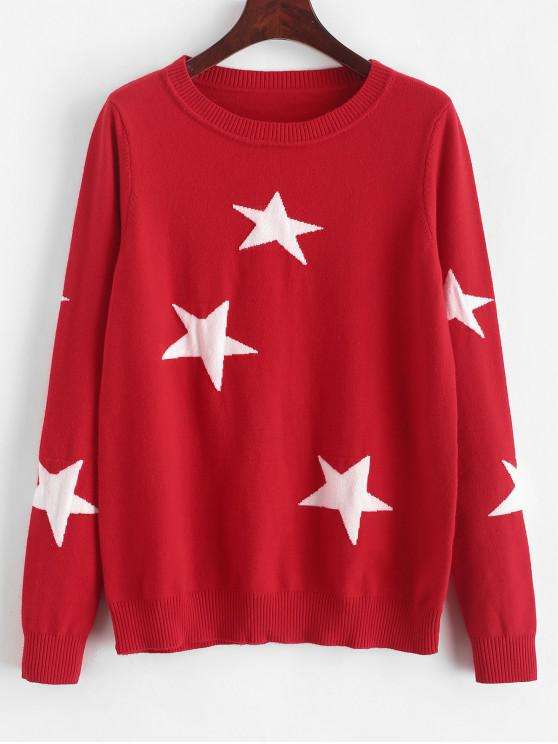 ladies ZAFUL Star Graphic Crew Neck Sweater - CHESTNUT RED M