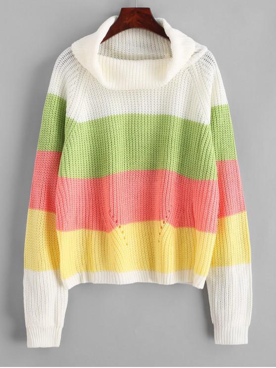 women Color Block Raglan Sleeves Open Knit Sweater - CLOVER GREEN M