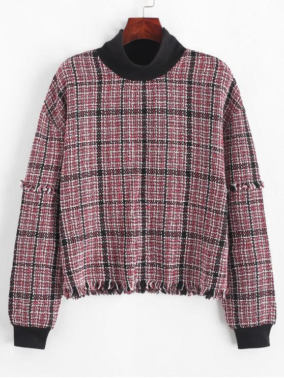 best ZAFUL Tweed Frayed Plaid Drop Shoulder Sweatshirt - MULTI-A S