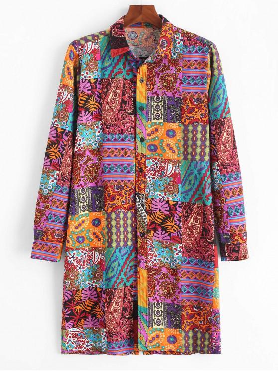 new African Tribal Print Button Up Long Shirt - MULTI-B L