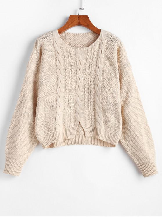 fancy Drop Shoulder Cable Knit Front Slit Sweater - BEIGE ONE SIZE