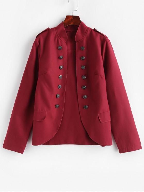 hot Faux Pockets Solid Epaulette Jacket - RED S