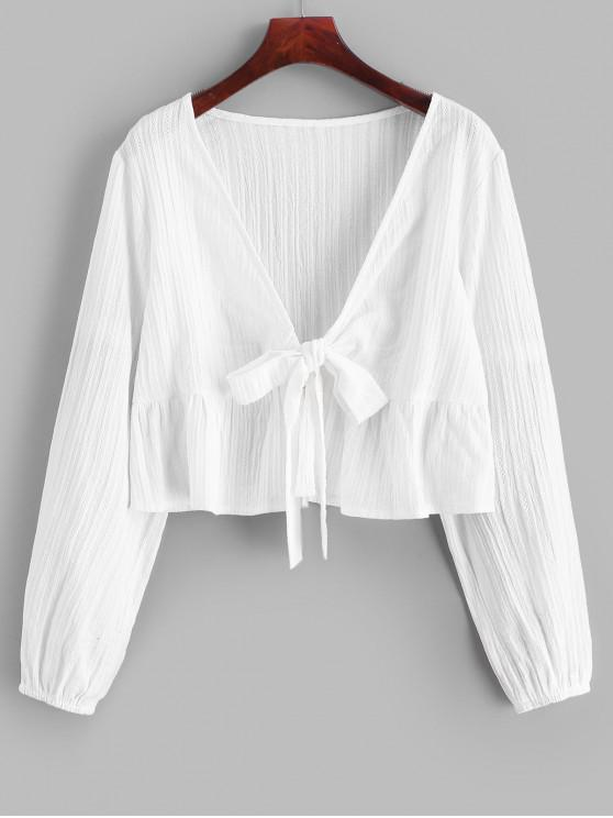 new Ruffle Hem Knotted V Neck Crop Blouse - WHITE S