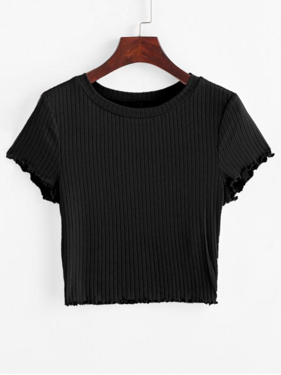 ladies ZAFUL Lettuce Trim Ribbed Knit Cropped Tee - BLACK M