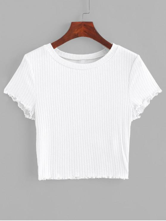 ladies ZAFUL Lettuce Trim Ribbed Knit Cropped Tee - WHITE L
